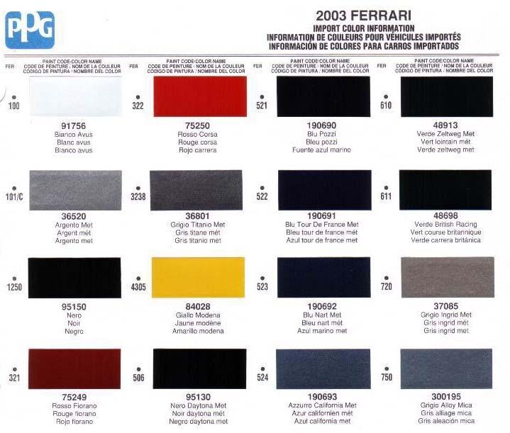 Maserati Color Chart